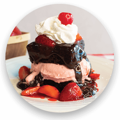 strawberry hot fudge cake