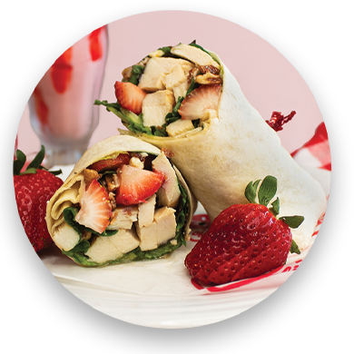strawberry grilled chicken wrap